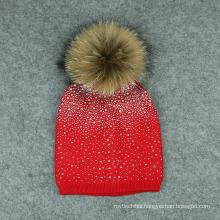 2017 hotsale beautiful rhinestones hot transfer acrylic knitted hat