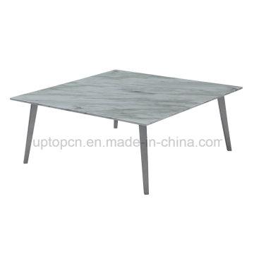 Mesa moderna do restaurante do café do mármore quadrado com perna do metal (SP-GT440)