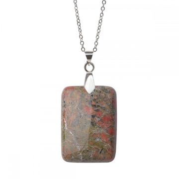 Natural Unakite Women Chakra Rectangle Gemstone Pendant Necklace