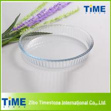 Placa de cozimento de vidro de borossilicato de forma redonda alta