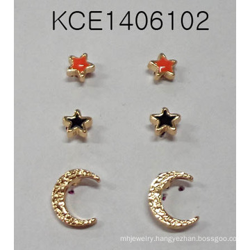 Set Star Moon Earring with Metal Fashion Jewelry