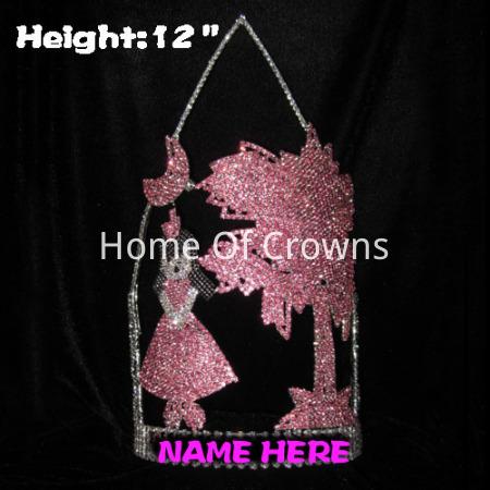 Coroa da princesa pageant da altura 12in com árvore de Plam sob a lua