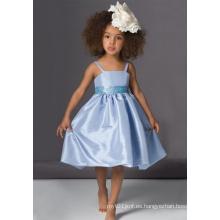 Vestido de niña de flores de tafetán de espagueti una línea