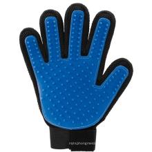 Outil de brosse de baignade d'animaux de cinq doigts bleu gant de toilettage de silicone, gant de solvant de cheveux d'animal familier