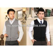 чистый кашемир V шеи свитер жилет для мужчин