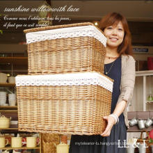 (BC-WB1023) High Quality Handmade Natural Willow Laundry Basket/Gift Basket