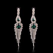 Green Crystal Fashion Dangle Earrings Silver Rhinestone