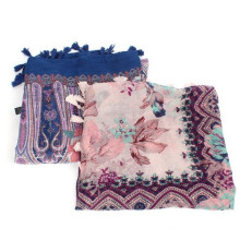 Nueva llegada del otoño del otoño del otoño de la primavera impresa floral borlas bufandas viscosas cuadradas 2017 bufanda impresa