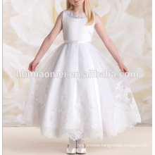 2016 white color laced sleeveless performance dress dress girl wedding for performance