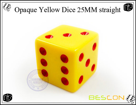 Opaque Yellow Dice 25MM straight