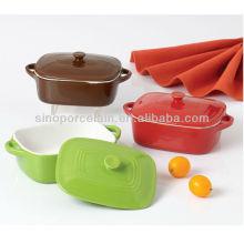 Cor vidrada prato de cerâmica cerâmica com tampa para BS12074