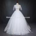 Dentelle de luxe à manches courtes lourds perlés robe de mariée de couleur blanche zhongshan avec longueur de plancher