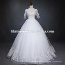 Vestido de boda zhongshan de color blanco con cuentas gruesas de manga corta de encaje de lujo con la longitud del piso