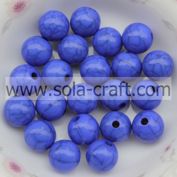 Spacer Charm 6MM Acrylic Solid Round Beads Blauwe kleur Crack Beads
