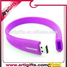 Alibaba Китай поставщики оптовая пользовательских силиконовые браслет USB браслет