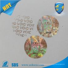 Petit autocollant d'hologramme rond avec design personnalisé autocollant d'étiquette de changement de couleur d'or NUL