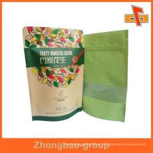 Fábrica de Guangzhou OEM stand up bolsa de papel reutilizable de papel kraft con la impresión