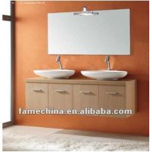 Waterproof madeira maple wenge dupla bacia parede pendurado banheiro armário / vaidade / mobiliário