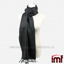 Garn gefärbte schwarze Fransen Wolle Schal