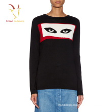 Women fashion Cashmere Knitted Wool Sweater with eyes