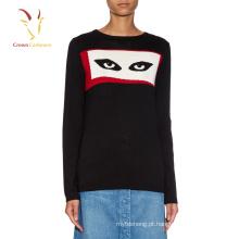 Moda feminina Cashmere Camisola de lã tricotada com olhos