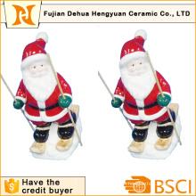 Keramik Skifahren Weihnachtsmann für Christams Dekoration