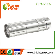 Factory Hot Sale 3*AAA Cell Used Promotional Good Quality Housing Portable Small Aluminum 9 led eveready flashlight