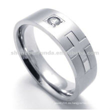 316 anillo del rhinestone del acero inoxidable con el dibujo cruzado