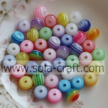 Wholesale Resin Striped Round Spacer Loose Beads