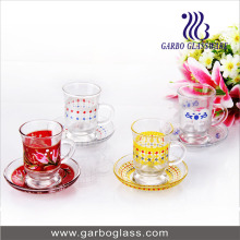 Glass Tableware Color Glass Coffee Cup and Saucer Set