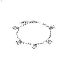 Cobre chapeamento de platina senhoras tornozelo pulseira, charme de prata tornozeleiras design de jóias