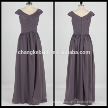 Cap Sleeve Cowl Neck Long Chiffon Bridesmaid Dress Pleats Party Dress