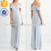 Blue Cold Shoulder Crepe Dress OEM/ODM Manufacture Wholesale Fashion Women Apparel (TA7122D)