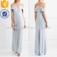 Синий холодное плечо креп платье OEM и ODM Производство Оптовая продажа женской одежды (TA7122D)
