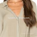 2017 populaire femme élégante dames lâche lin chemise à manches longues blouse
