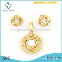 Fashion 316l stainless steel gold locket & earring jewelry set wholesale