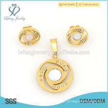 Fashion 316l aço inoxidável medalha de ouro e jóias brinco conjunto atacado