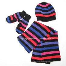 Наборы перчаток шарфа 100% акрилового способа установленные