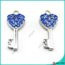 Acessórios de pingente de chave de coração de cristal azul (MPE)
