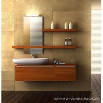 Armoires de salle de bains modernes en mélamine MFC, vanité de salle de bain grise, importation de vanité de salle de bain 48 ''