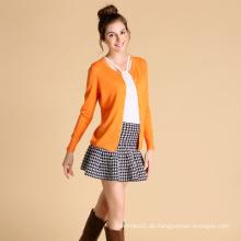 Damenmode-Cardigan mit Rundhalsausschnitt Einreihige 100% -Kaschmir-Cardigans im europäischen Stil