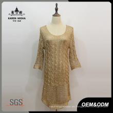 Vestido tejido de punto de manga larga para mujer
