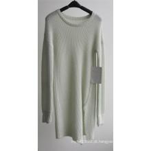 Rodada pescoço cor pura pullover camisola de malha para senhoras