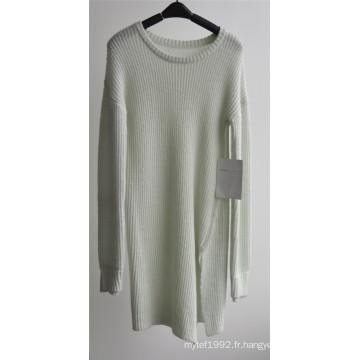 Pull à encolure en poudre pure à encolure en tricot pour dames