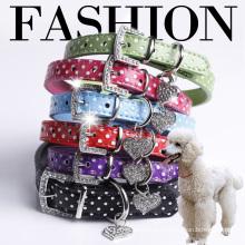 Fashion Rhinstones Buckle Pendant Polka Dot Leather Pet Puppy Dog Collar