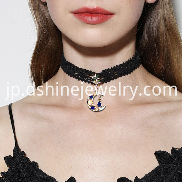 Black Lace Chain Velvet Choker