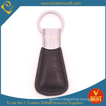 Wholesale High Quality Customized Laser Logo Personalized Leather Keychain with Big Ring