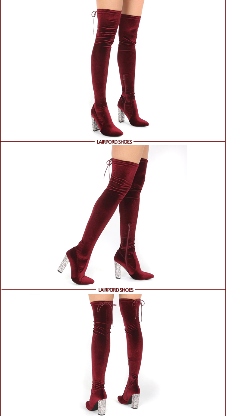 red ladies slim fitting thigh-high boot