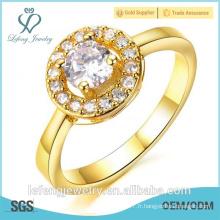 Vente chaude haute polie bon marché plaqué or anneaux de mode avec des pierres