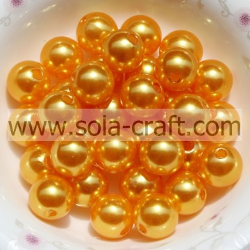 Gold Pearl Jewelry Necklace 6mm Ball Smooth Natural Pearl Beads For Evening Bags